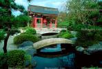 Garden, pond, arch bridge, water, trees, Buddhist Shrine, Gotemba, CAJV02P12_05.0629