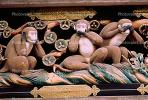 The Legend of the Three Monkeys, wood carving, iconic, landmark, Nikko, CAJV03P03_12B