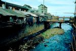 river, bridge, buildings, homes, Sasebo Saga, 1950's, CAJV03P11_03.0635