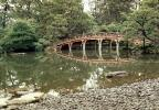 Gardens, Taiko arch bridge, pond, water, rocks, trees, reflection, lake