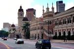 Sultan Abdul Samad Building, clock tower, street, cars, landmark, minarets, automobile, vehicles