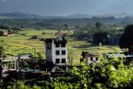 Kathmandu Valley, buildings, fields, mountains