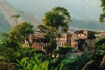 Buildings, Mountains, trees, homes, houses, cliff, Kathmandu