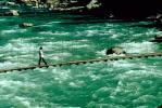 Footbridge, River, Person, Walking, Suspension Bridge, Rapids