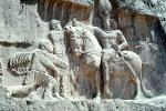 The triumph of Shapur I over the Roman Emperor Valerian, and Philip the Arab, bar-Relief sculpture, Naqsh-e Rustam, Necropolis, Marvdasht cultural complex, Landmark, Fars province, Iran