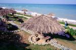 beach, bench, table, grass parasols, resort, Kish Island, Hormozgan Province, Persian Gulf