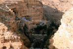 St. George's Monastery, Wadi Qelt, sixth-century cliff-hanging complex, cliff hanging, Greek Orthodox church, valley, west of Jericho, CAZV01P15_14.0633