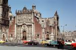 Zocalo Old Cathedral, Cars, automobile, vehicles, building, 1966, 1960s, CBLV01P04_13