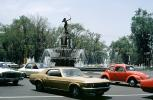 Fountain of Diana, Chapultepec Park, Water Fountain, aquatics, Statue, Monument, Landmark, Ford Mustang, Volkswagen, building, Cars, automobile, vehicles, April 1974, 1970s, CBLV01P12_07