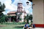 Boys, Dog, Church Tower, dome, building, Patzcuaro, Guadalajara, CBMV04P10_09