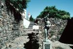 Statue, Monument, Rock Wall, Walkway, landmark, Colonia, CBUV01P02_05