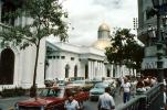 National Capitol, Dome, government building, landmark, Palacio Municipal de Caracas, Cars, automobile, vehicles, Caracas, Venezuela, 1960s, CBVV01P03_04