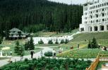 Chateau Lake Louise Hotel, Building, Lawn, Garden, Paths, Banff, Forest, 1950s, CCAV01P06_02
