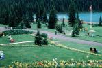 Lake Louise, Mountains, Forest, Lawn, Path, Flowers, Banff, CCAV01P06_13