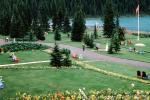 Lake Louise, Mountains, Forest, Lawn, Path, Flowers, Banff, CCAV01P06_14