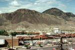 Cars, shopping center, automobiles, mall, buildings, mountains, desert, 1970s, CCAV01P10_02