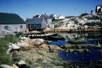 Bay, houses, homes, buildings, harbor, boats, dock, rocks, tide, Peggy's Cove, Nova Scotia, CCEV01P04_07