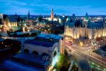 Peace Tower of the Parliament of Canada, Twilight, Dusk, Dawn, cityscape, government buildings