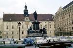 Statues, Buildings, Cars, Palace, Clock Tower, automobile, vehicles, Vienna, October 19, 1964, 1960s, CEAV01P11_15