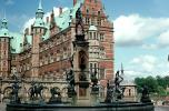 Water Fountain, aquatics, statues, Frederiksbord national historic museum, tower, building, palace, Hillerod