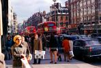 Crowded Sidewalk, shoppers, coats, cold, cars, buildings, London, CEEV05P01_14