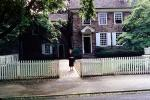 Curb, England, Woman, Home, Picket Fence, Sidewalk, House, Wndows, CEEV05P12_14
