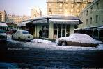 car, sedan, snow, ice, cold, Frozen, Icy, Winter, buildings, Citreon, January 1966, 1960s, CEFV02P12_11