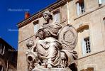 Woman, Statue, Child, Robes, Landmark, Sheild, emblem, crest, female, lady, CEFV04P12_16.2586