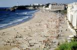 beach, crowds, crowded, sand, water, waves, buildings, waterfront, Biarritz