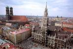 Marienplatz Clock Tower, Munich, Red Roofs, Rooftops, Cityscape