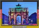 Siegestor (Victory Gate) or Victory Arch, Munich, Twilight, Dusk, Dawn