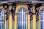 Sanssouci, Architectural detail from the central bow of the garden facade, Atlas and Caryatids, Potsdam, sculpture, statue, Berlin
