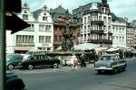 Opel, cars, buildings, town, village, automobile, vehicles, 1950's