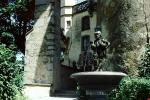 Water Fountain, aquatics, Statue, men with ducks, building, castle, Constance, Konstanz, 1950's