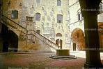 Courtyard, Stairs, Walls, Water Fountain, aquatics, Building, Florence, CEIV01P08_09