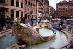 "Fontana della Barcaccia, Piazza di Spagna, (""Fountain of the Old Boat""), Water Fountain, aquatics, famous landmark, Rome, CEIV02P05_03"