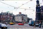 Trolley, Cars, Street, Tower, Clock, Crosswalk, Amsterdam, CENV01P01_03