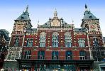 Amsterdam Central Station, Centraal Station, Building, Brick, Red, Clock Towers, Amsterdam, CENV01P01_08