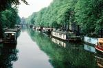 Houseboats, Floating Homes, Trees, Canal, Waterway, Reflection, Amsterdam, CENV01P14_14