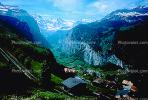 Classic overview, Valley, Waterfall, Wengen, Switzerland, 1950s, CESV01P07_08.1720