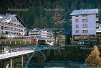Hotel Bristol, Hotel Couronne, Buildings, Chalet, River, Zermatt, Switzerland, 1950s, CESV01P12_10.1720