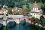 Buildings, forest, river, Truck, Stone Arch Bridge, Bern, Switzerland, CESV02P11_05