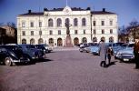 Palace, Sculpture, cars, cobblestone street, building, 1950s, CEWV01P08_08