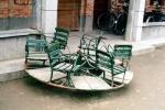 broken carousel, bench, seats