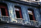 old windows, Old Havana building, sidewalk, CICV01P06_11