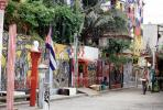 Wall Art, Colorful Buildings, Flag, Old Havana, Buildings, Sidewalk, CICV01P08_07