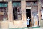 Woman, Cane, Doors, Windows, Doorway, entrance, Old Havana, Buildings, Sidewalk, CICV01P08_09