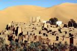 Village, buildings, palm trees, Sand Dunes, Sahara Desert