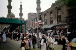 Mosques of Rif'ai and Sultan Hasan, Crowded Street Scene, Buildings, Cars, Minarets, Cairo, CJEV01P05_08