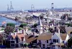 Long Beach Harbor, homes, houses, cranes, church